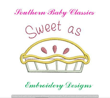 Sweet as Pie Appliques Design File Embroidery Machine Monogram Applique Instant Download Apple Cherry Strawberry Food Summer Girl Cute by SouthernBabyClassics on Etsy