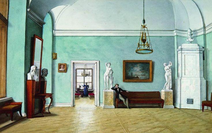 Парадные комнаты в квартире в Академии Художеств.  Ф.П. Толстой. В комнатах. Конец 1820-х, акварель. ГТГ.