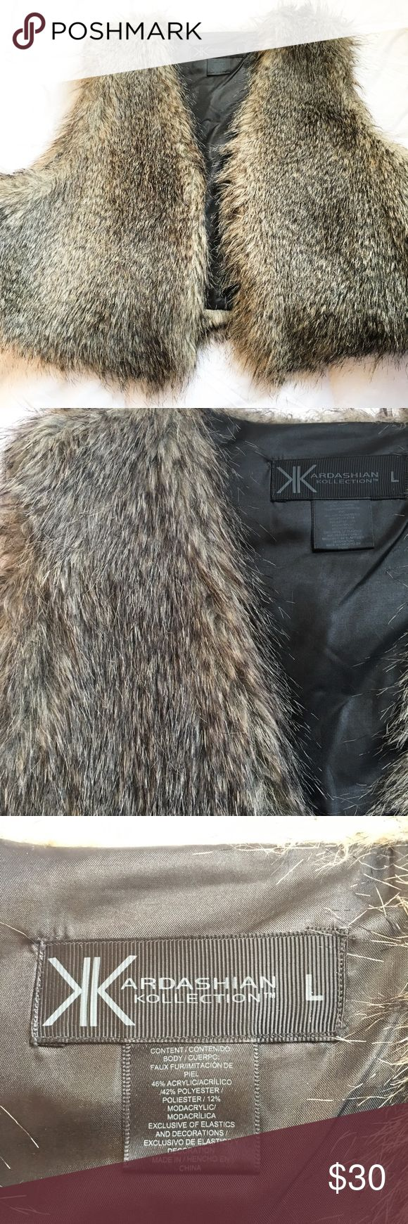 Kardashian Faux Fur Vest Bought from Sears. Only worn once! Super cute fur vest - part of the Kardashian Kollection. FAUX FUR!!                                                                                              ‼️REASONABLE OFFERS ACCEPTED‼️                                       📦BUNDLE AND SAVE📦 Kardashian Kollection Jackets & Coats Vests