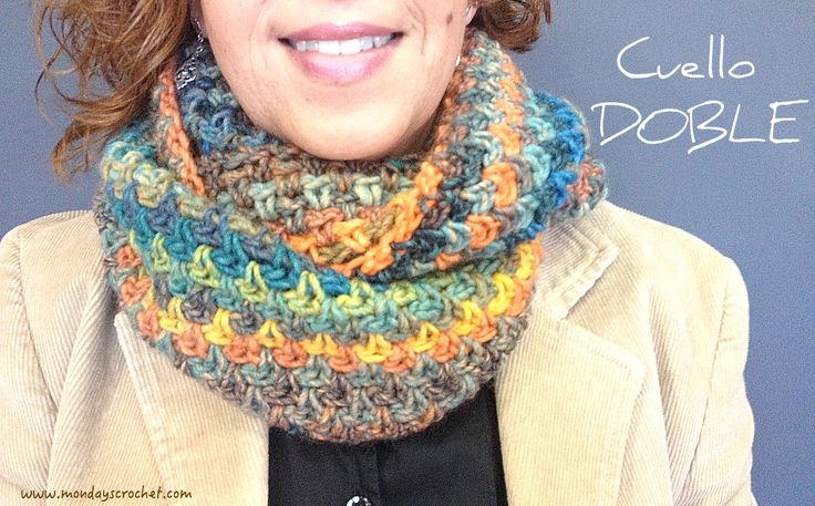 Adéntrate en el mundo de crochet haciendo un bonito cuello como este. ¡No hace falta ser un experto!