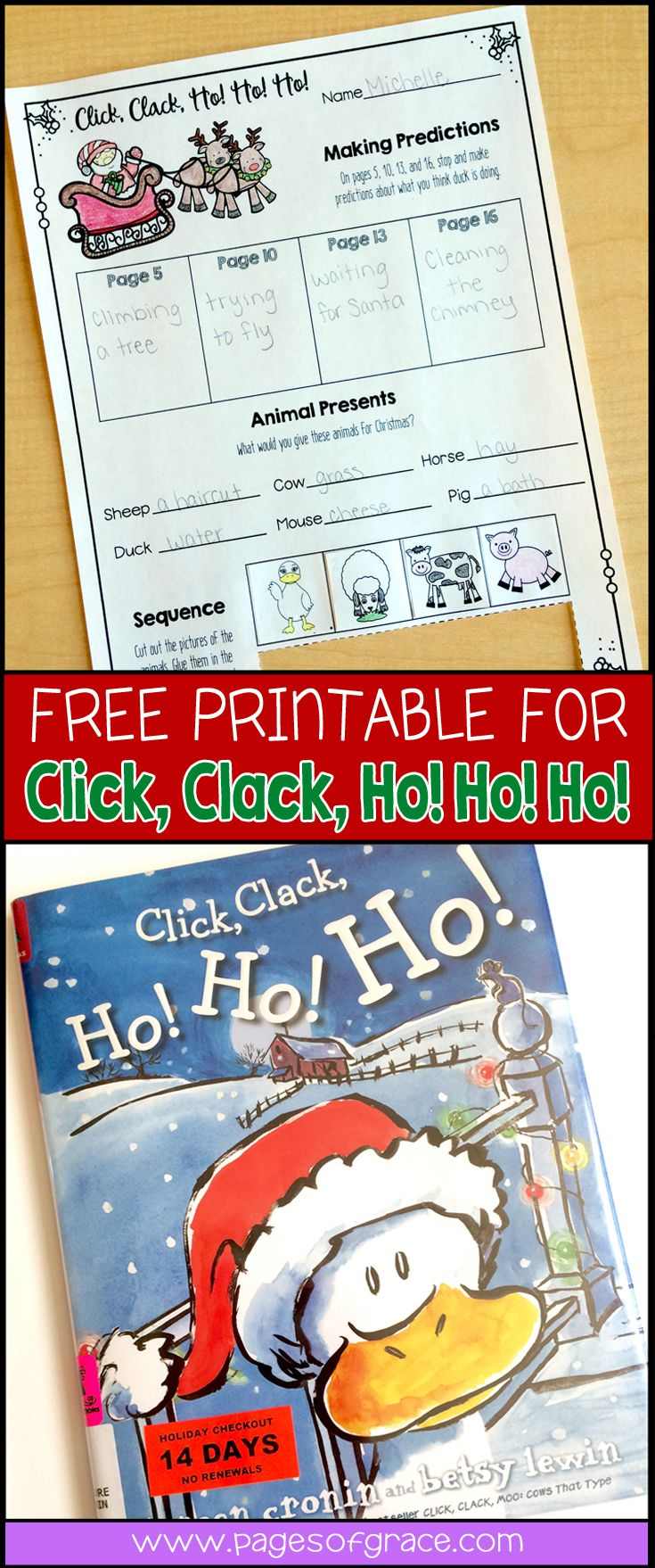 Add some fun to your Christmas read aloud time with this free printable for the funny book, Click Clack Ho Ho Ho! It includes 3 engaging activities that your students will love! Great for advanced preschool, kindergarten, and first grade kids.