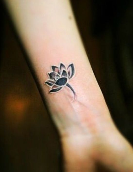 Black lotus flower with white highlights #black #and #white #tattoo #lotus #flower #smalltattoo