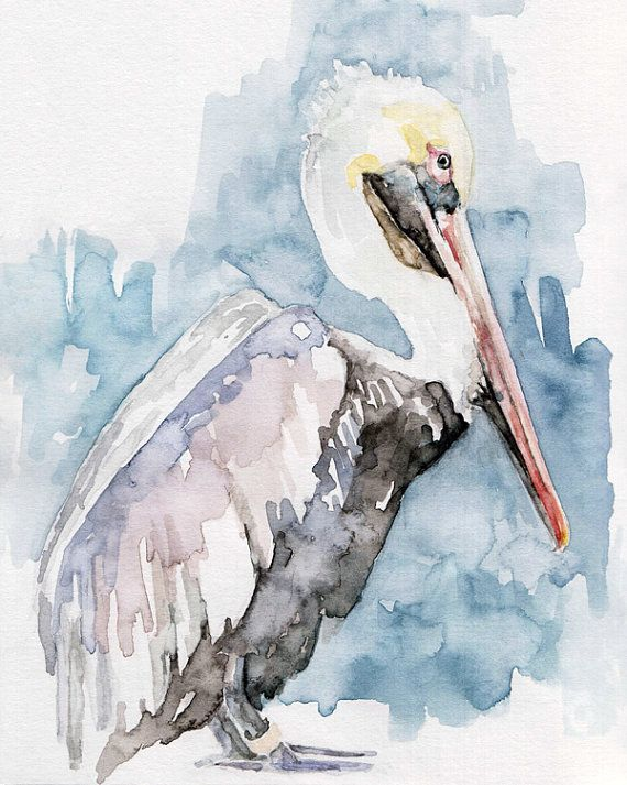 """Pelican Painting - Print from Original Watercolor Painting, """"The Fish Catcher"""", Beach Decor, Blue Sea"""