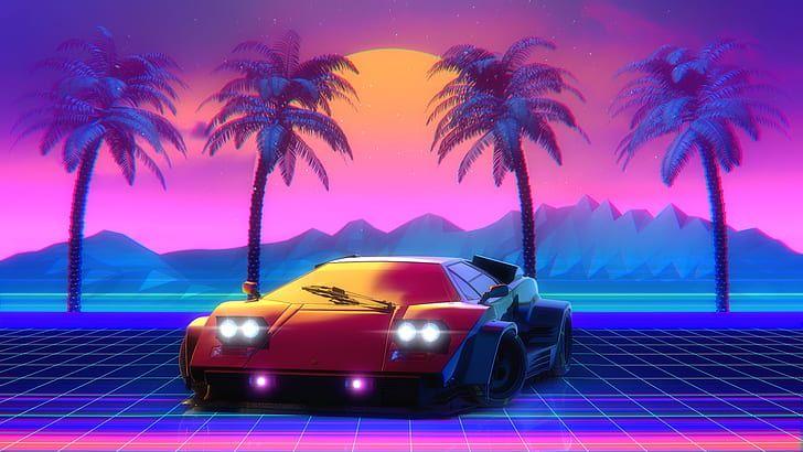 Colorful outdoor backgrounds can help you to feel relaxed or energized for the rest of the day. Hd Wallpaper Lamborghini 80s Neon Countach Lamborghini Countach 80 S Wallpaper Flare Lamborghini Countach Retro Waves Hd Wallpaper