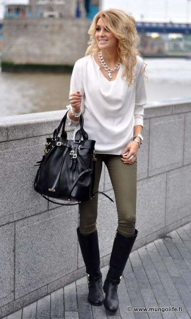 1000+ ideas about Olive Green Pants on Pinterest | Black Boots Outfit Brown Leggings and Olive ...