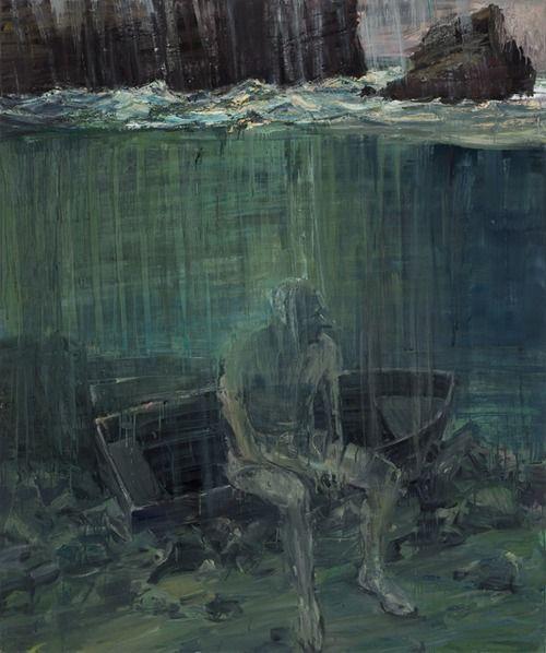 Euan Macleod (b. 1956, Christchurch, New Zealand) - Sitting On Dinghy Below Rough Sea, 2012