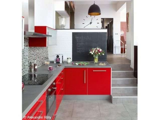 37 best cuisine rouge et grise images on Pinterest Red kitchen - Photo Cuisine Rouge Et Grise