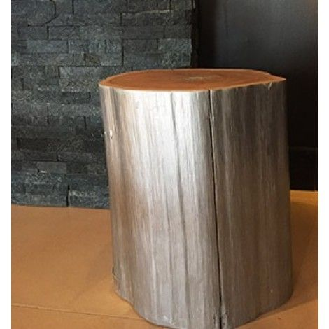 Buche naturelle en bois flott et r cup r peint en argent for Chandelier bois flotte