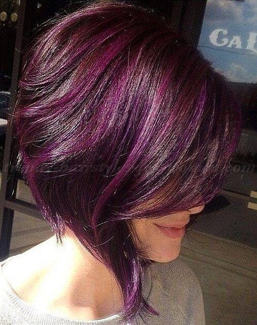 Purple streaks in dark short hair
