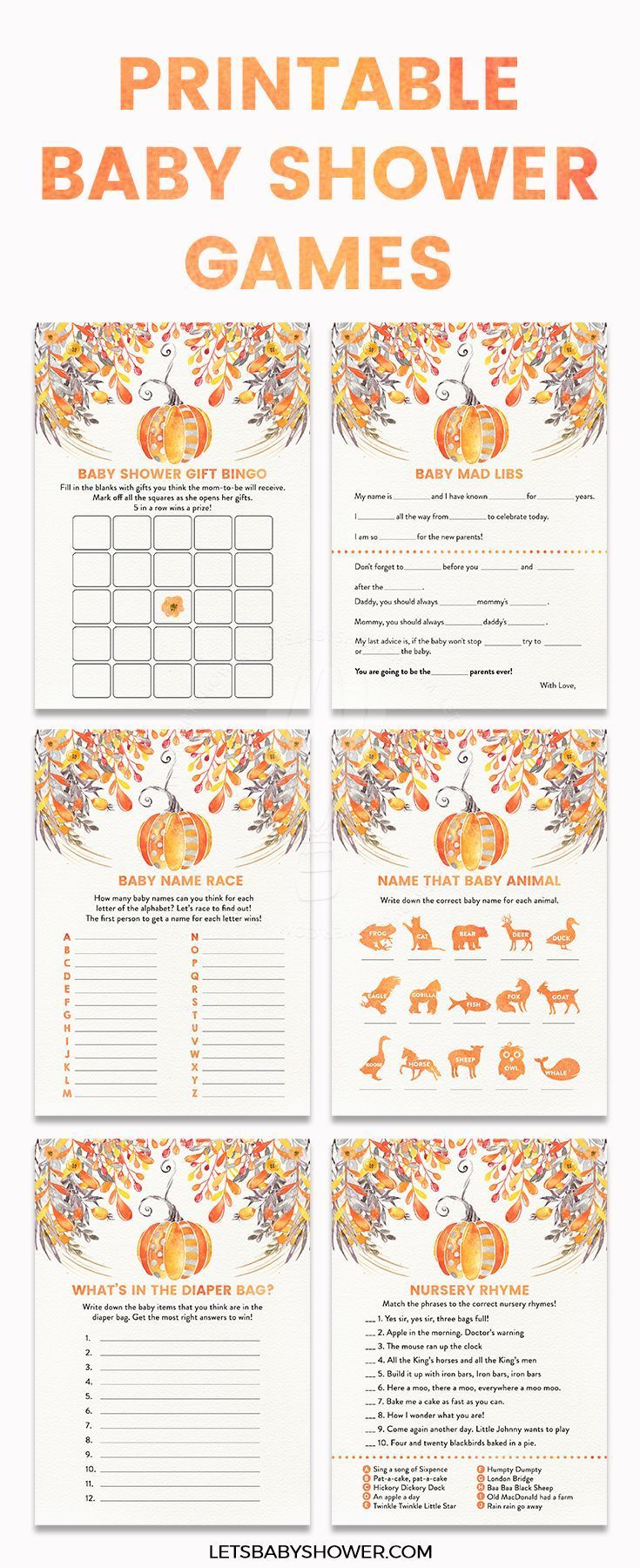 Printable Baby Shower: Fall Autumn Orange Pumpkin Baby Shower Idea for Boy or Girl