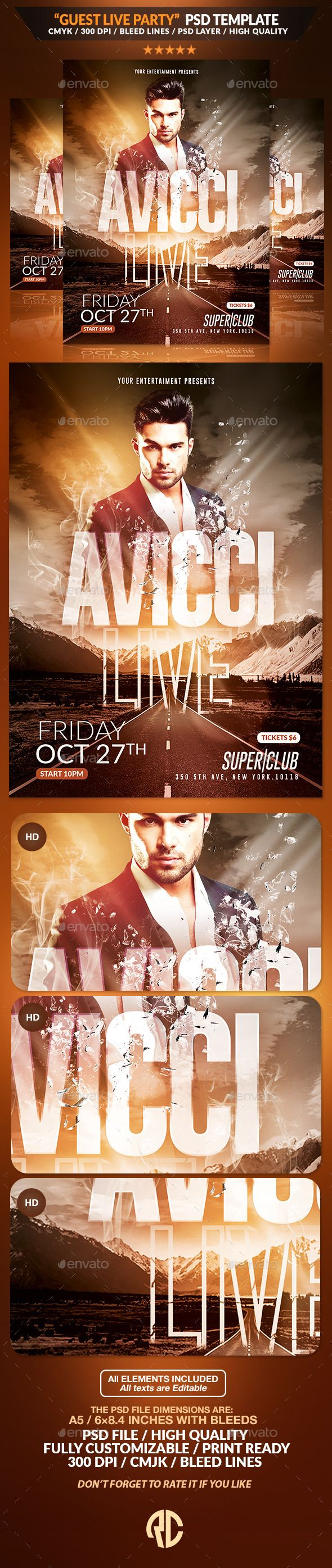 Guest Live Party | Psd Flyer Template  Psd Template Available on #envatomarket #graphicriver #templates #flyers #poster #graphics #nightclub #advertising #affiches #psd #stock #deviantart #live #party