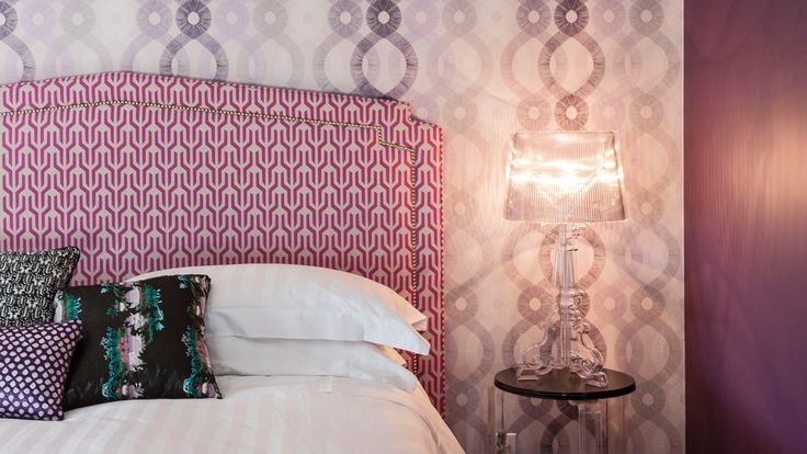 Modern Bedroom with Graphic Touches in Shades of Purple - The Room Edit