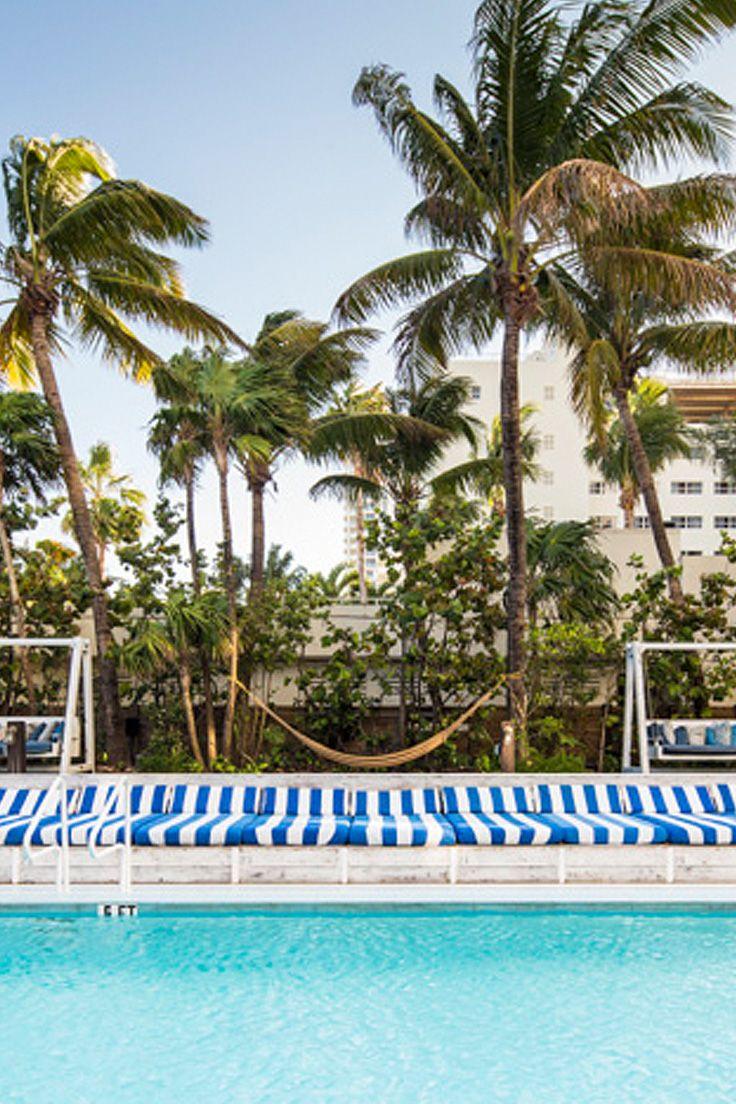 Blue Stripe Sunbeds and Swimming Pool. Soho Beach House, Miami | Colour