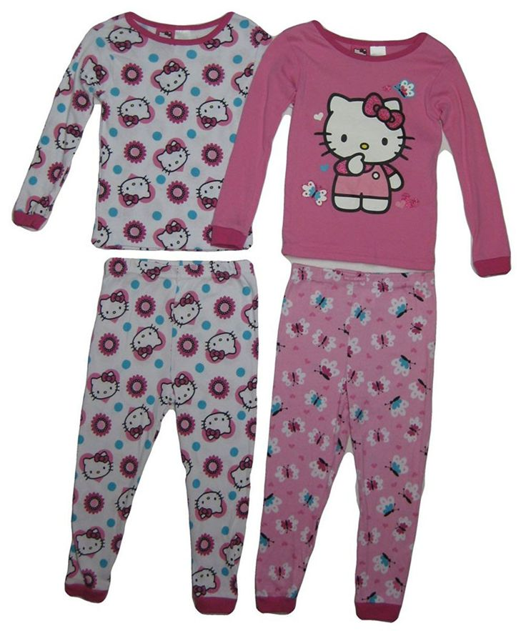 Hello Kitty Toddler Girls 4 Piece Pink Cozy Pajamas
