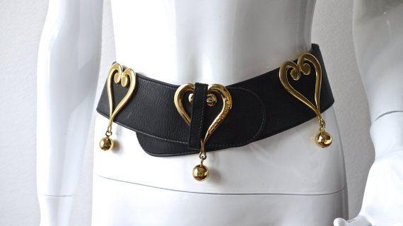 MOSCHINO Vintage cuir coeur boule Disco ceinture
