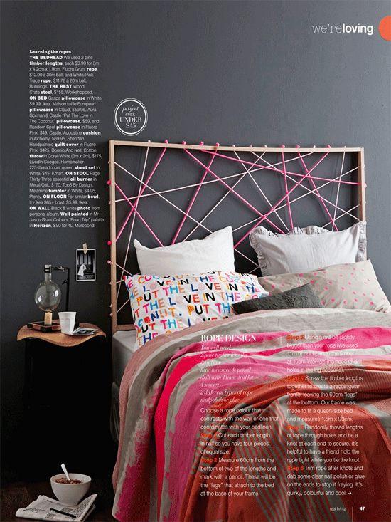 Buenísima idea para el respaldo de la cama. Me encantó.