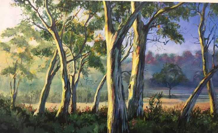"Olga Kolt ""Gum Trees"", Acrylic on Hessian, 150 x 900cm"