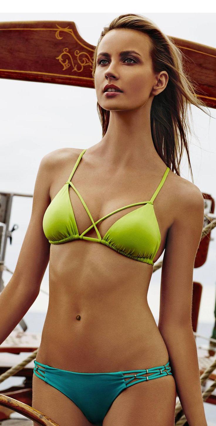 #VitaminA 2015 French Lime Aruba Kylie Triangle #Bikini #southbeachswimsuits