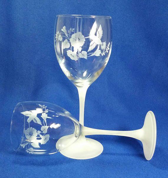 Hummingbird Crystal Wine Glasses By Avon Avon Hummingbird Vintage Stemware Crystal Wine Glasses Avon Crystal