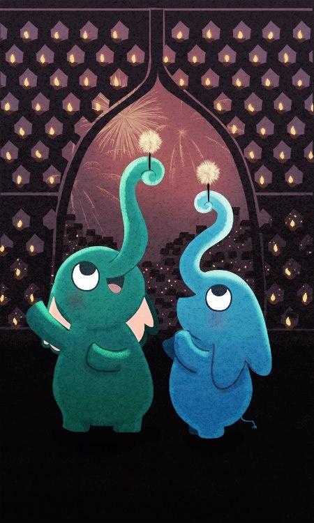 "Elephant Painting, Elephant Wall Art, Cute Elephant Illustration - ""Festival of…"