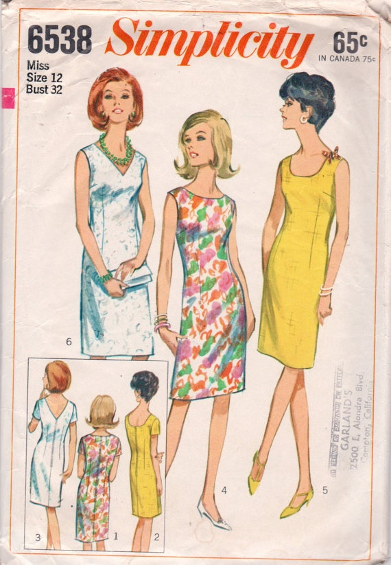 Simplicity 6538 1960s Misses Slim Shift Dress Pattern vintage sewing pattern by mbchills
