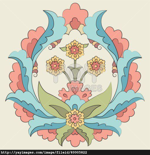 Ottoman art flowers fourteen version
