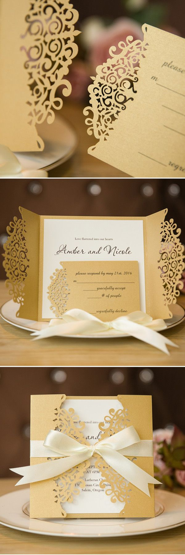 diy gold and cream laser cut wedding