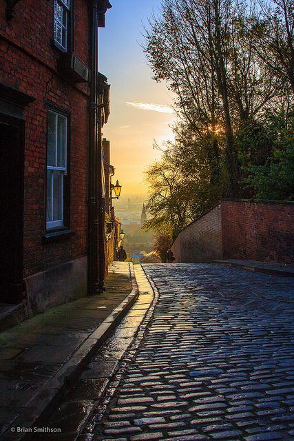 Steeply cobbled, Lincoln, England