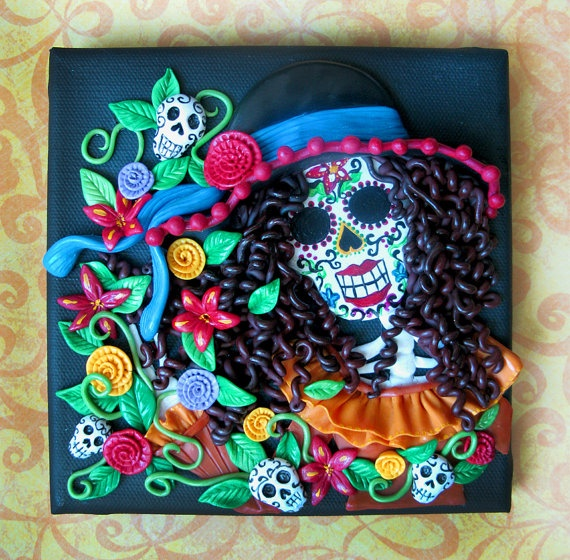 la catrina skull day of the dead 3d painting original by