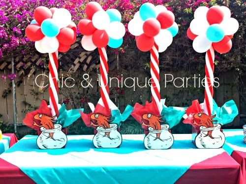 Cat in the Hat 3ft balloon topiary centerpieces. www.ChicAndUniqueParties.com
