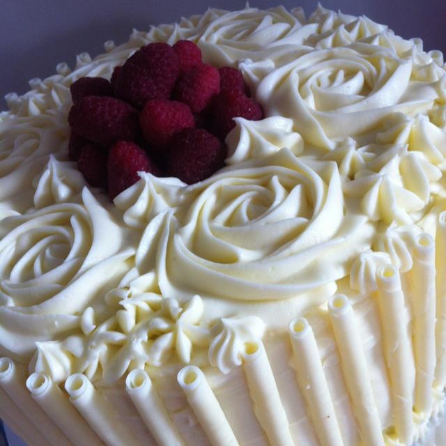 White Chocolate & Raspberry Cake with Lemon Cream Cheese Frosting