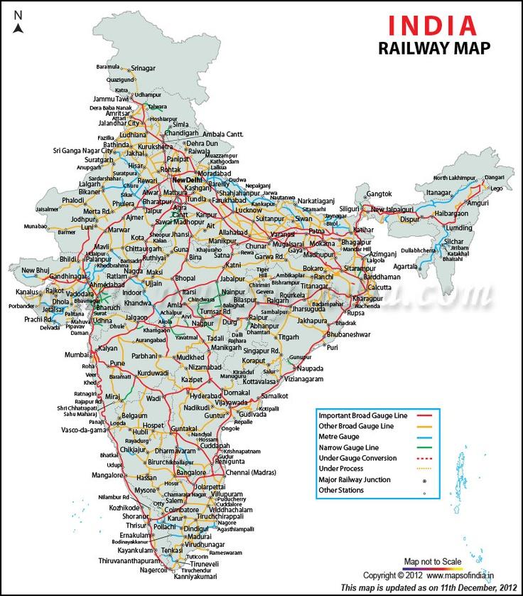 train route map india Indian Railways Railway Map Of India India Railway India Map train route map india