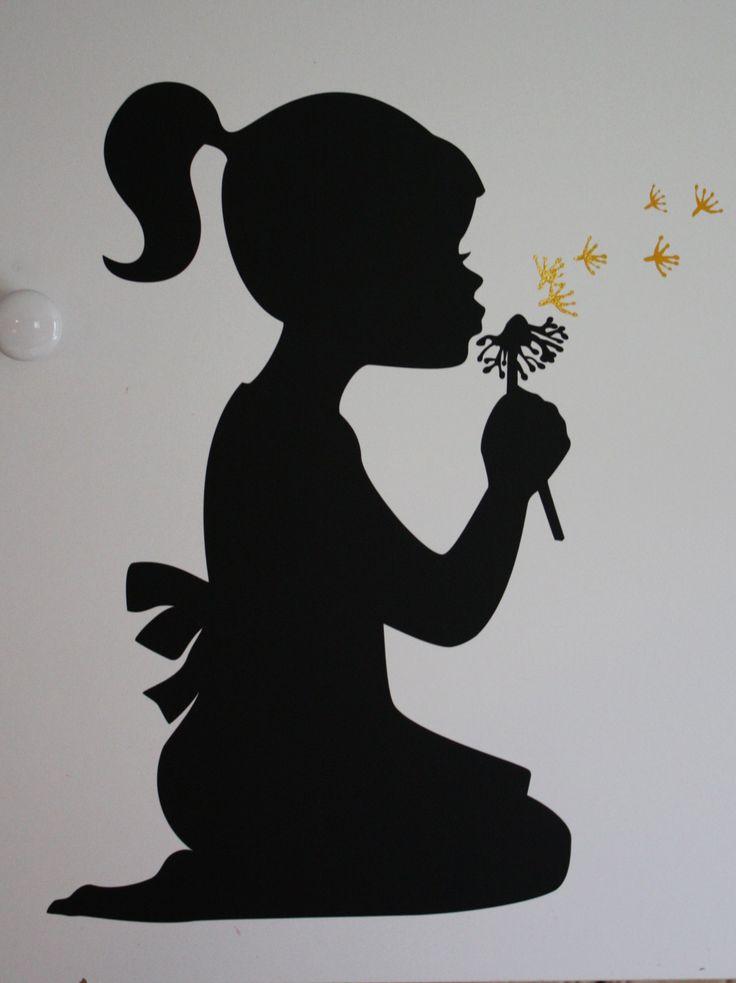 Silhouette girl blowing dandelion - vinyl wall design.