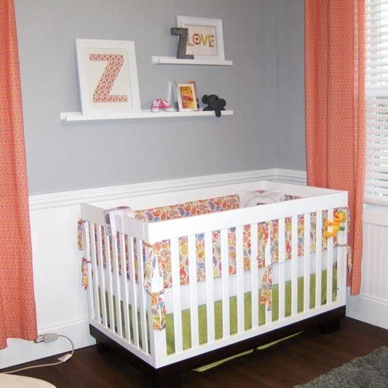 This is a gray nursery done right!! I love that crib bedding and the coral curtains - well done!!  CRIB BUMPER CRiB SKiRT SHEET 3 pc Custom Crib by RockyTopDesign, $277.00