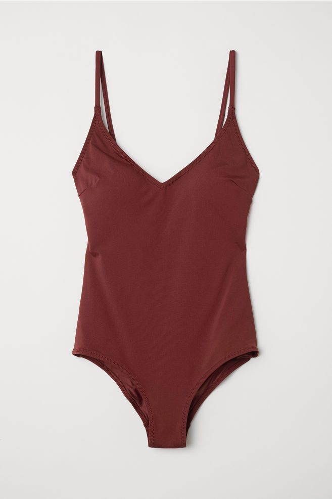2f834ef452 V-neck Swimsuit - Dark red - Ladies