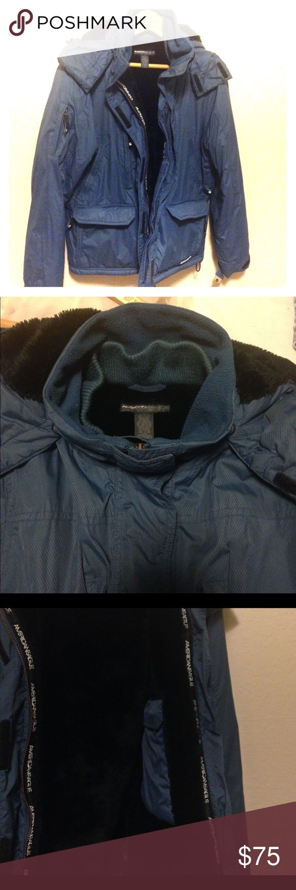 ❄️AEO Heavyweight Utility Parka❄️ Warm cozy faux fur lined parka with 12 pockets!!! Be prepared for anything with this puppy. Hood has drawstrings for extra protection from the elements, also sinches back or can be removed completely by zipping off. Cuffs Velcro tight to prevent exposure. Gently used condition (see pic 6 for wear on one shoulder) American Eagle Outfitters Jackets & Coats Utility Jackets