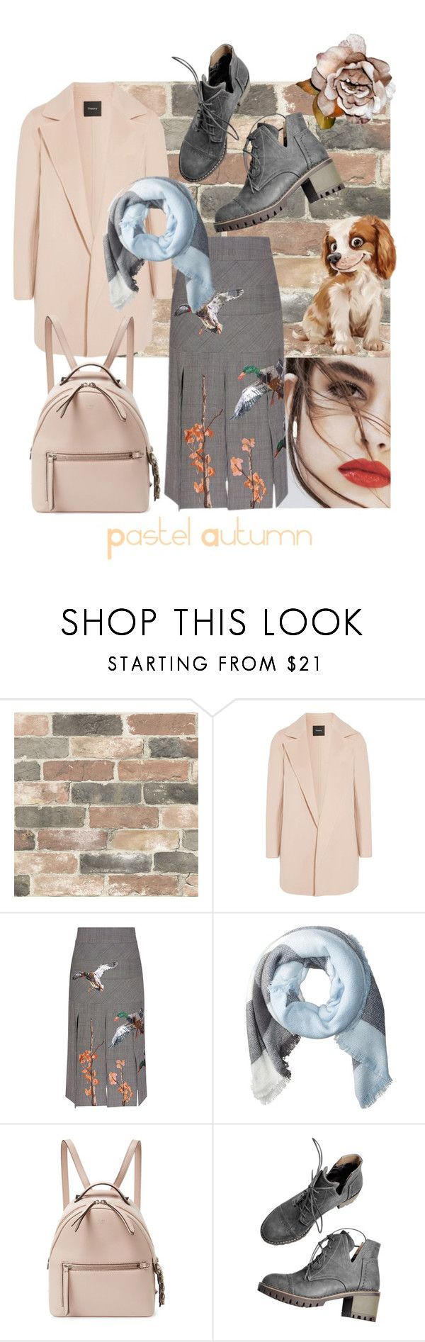 """""""Pastel autumn"""" by sitiraniausemahu ❤ liked on Polyvore featuring Lily Jean, Wall Pops!, Theory, Stella Jean, Hat Attack, Fendi, girly, pastel and autumn2017"""