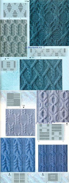 Вязание спицами - узоры косы - 35 шт
