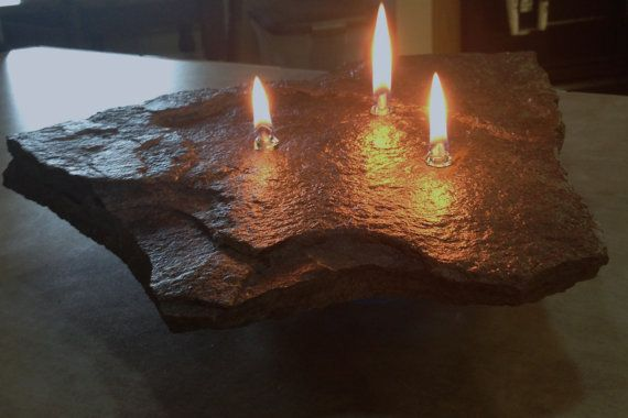 handmade oil burning rock candle 3 wicks straight line