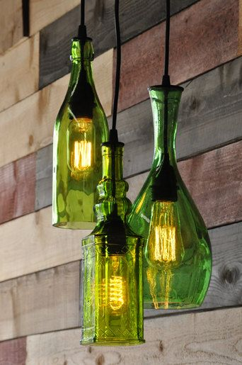 The Harmony 3-Light cut recycled bottle pendant chandelier. One of my all time favorites.