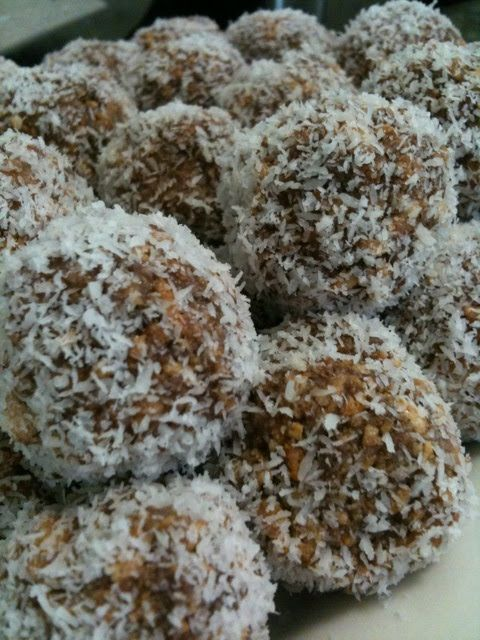 Chococo balls!  Crush 1 packet Arnott's Marie biscuits, or plain sweet biscuits (250g) (put biscuits in 2 glad bags  crush with rolling pin). Stir with 1 400g tin condensed milk, 1 cup coconut  2 tablespoons cocoa. Roll into balls  refrigerate until you can't take waiting anymore. Eat them all. Repeat.