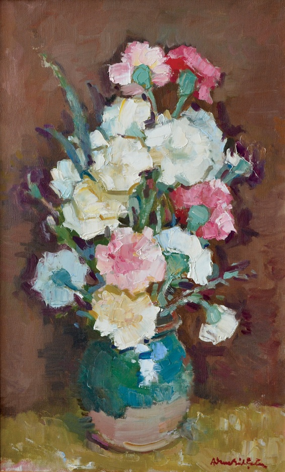 Adam Bălțatu - Garoafe    Lucrarea face parte dintr-o serie de 6 picturi, confiscate în perioada comunistă și recuperate recent de la Muzeul Municipiului București.