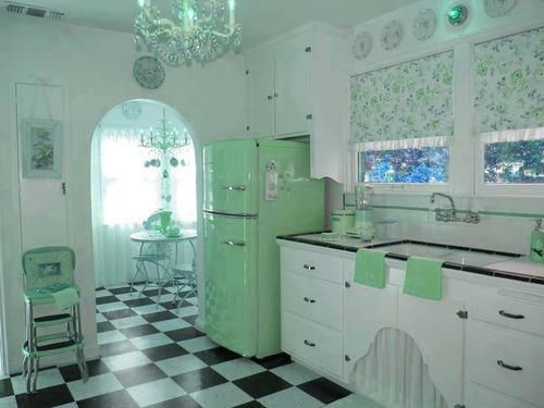 Click through to see the same kitchen in yellow and in pink. I love technology!