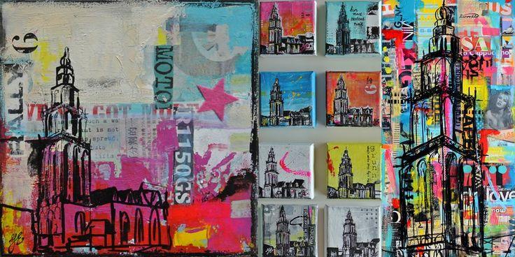 Ik schilder Martinitorens op doek op maat gemaakt, formaat en kleur naar wens. Kijk naar de vele voorbeelden op mijn website.