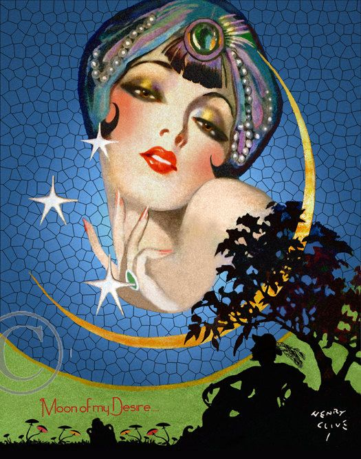 Exotic Art Deco Beauty Print, Lady in Cresant Moon, Gazing down on a Man in the Moonlight, Stars, 1920's Giclee Art Print, Henry Clive