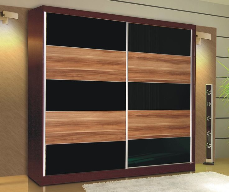 Wardrobe  Available in colour: Wenge + plum + black glass  Dimensions: Width: 225 cm Height: 215 cm Depth: 58 cm