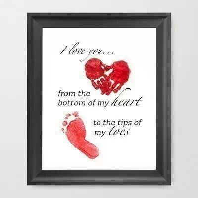 Print i love you from the bottom of my heart to the tip of my toes add handprint footprint for gift home new baby valentines day