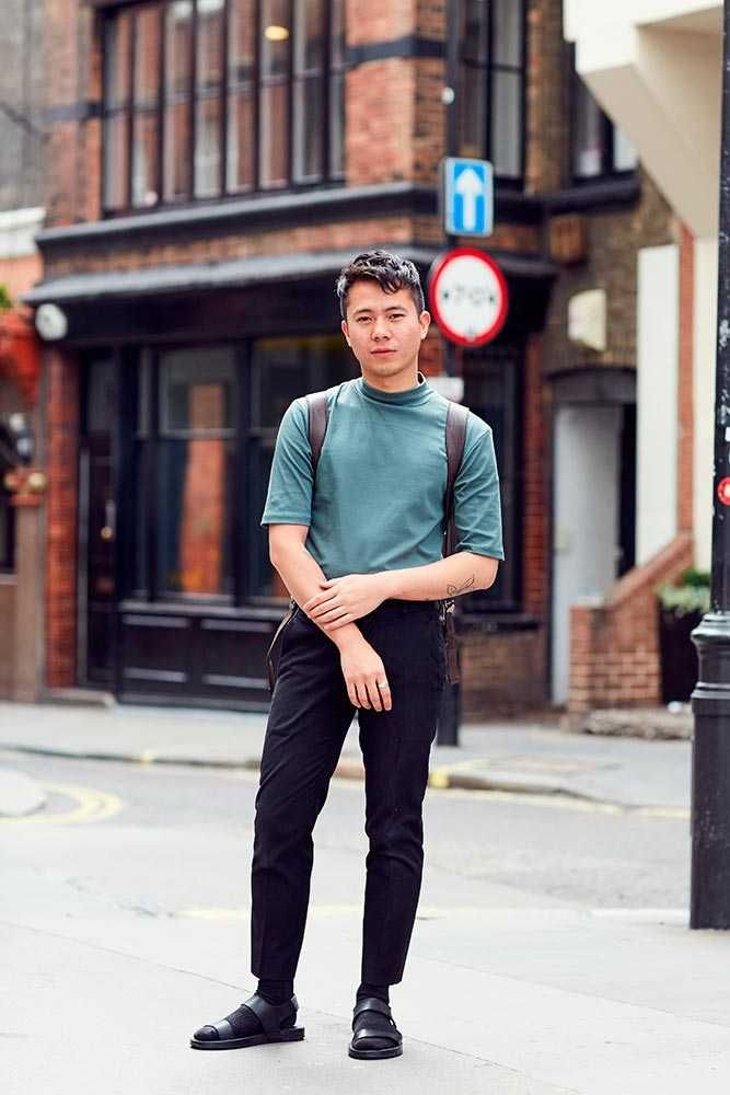 Viet Tran, Designer  Topman top and trousers, Zara backpack and sandals, New Balance socks
