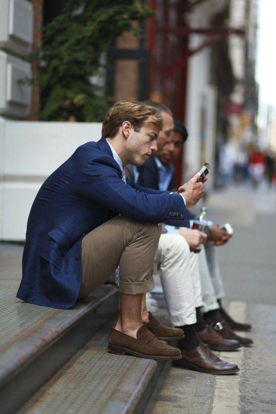 Business casual phone break.