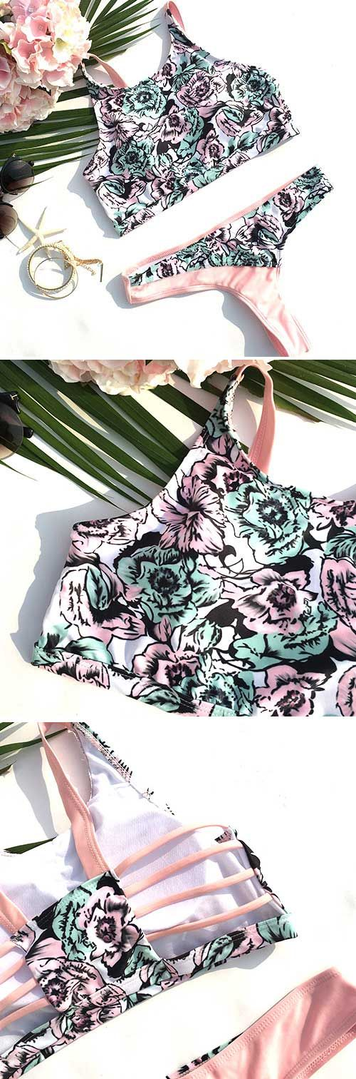 Hit the beach in style this summer by opting for this pretty, pink floral strappy detailing bikini set. Like a stunning display of pretty blooms, the Every little Thing Flower Bikini Set will instantly brighten any place it enters!